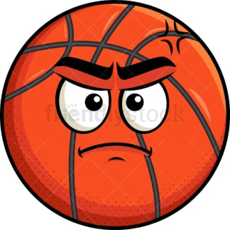 Annoyed basketball emoticon. PNG - JPG and vector EPS file formats (infinitely scalable). Image isolated on transparent background.