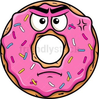 Annoyed donut emoticon. PNG - JPG and vector EPS file formats (infinitely scalable). Image isolated on transparent background.