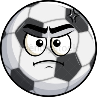 Annoyed soccer ball emoticon. PNG - JPG and vector EPS file formats (infinitely scalable). Image isolated on transparent background.