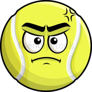 Annoyed tennis ball emoticon. PNG - JPG and vector EPS file formats (infinitely scalable). Image isolated on transparent background.