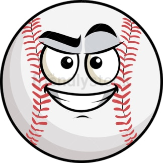 Cunning evil face baseball emoticon. PNG - JPG and vector EPS file formats (infinitely scalable). Image isolated on transparent background.