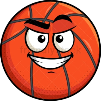 Cunning evil face basketball emoticon. PNG - JPG and vector EPS file formats (infinitely scalable). Image isolated on transparent background.