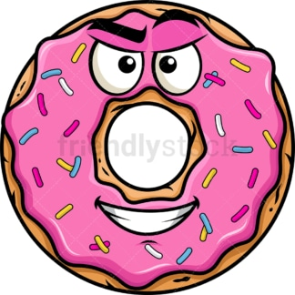 Cunning evil face donut emoticon. PNG - JPG and vector EPS file formats (infinitely scalable). Image isolated on transparent background.