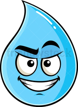 Cunning evil face raindrop emoticon. PNG - JPG and vector EPS file formats (infinitely scalable). Image isolated on transparent background.