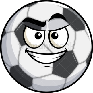 Cunning evil face soccer ball emoticon. PNG - JPG and vector EPS file formats (infinitely scalable). Image isolated on transparent background.