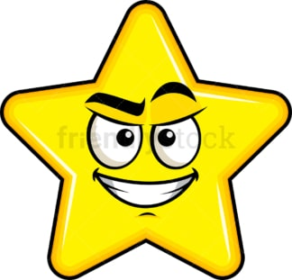 Cunning evil face star emoticon. PNG - JPG and vector EPS file formats (infinitely scalable). Image isolated on transparent background.