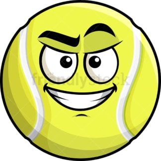 Cunning evil face tennis ball emoticon. PNG - JPG and vector EPS file formats (infinitely scalable). Image isolated on transparent background.