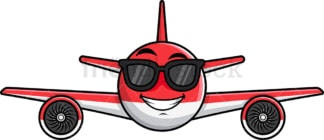 Cool airplane wearing sunglasses emoticon. PNG - JPG and vector EPS file formats (infinitely scalable). Image isolated on transparent background.