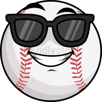 Cool baseball wearing sunglasses emoticon. PNG - JPG and vector EPS file formats (infinitely scalable). Image isolated on transparent background.