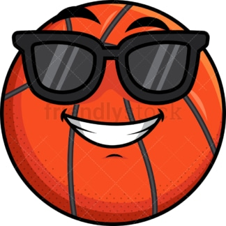 Cool basketball wearing sunglasses emoticon. PNG - JPG and vector EPS file formats (infinitely scalable). Image isolated on transparent background.