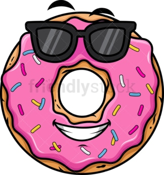 Cool donut wearing sunglasses emoticon. PNG - JPG and vector EPS file formats (infinitely scalable). Image isolated on transparent background.