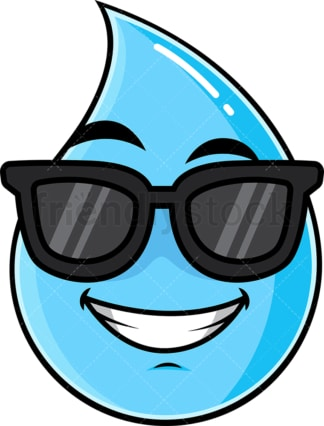 Cool raindrop wearing sunglasses emoticon. PNG - JPG and vector EPS file formats (infinitely scalable). Image isolated on transparent background.