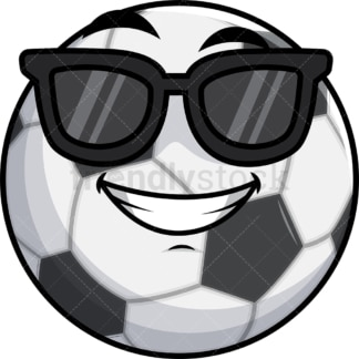 Cool soccer ball wearing sunglasses emoticon. PNG - JPG and vector EPS file formats (infinitely scalable). Image isolated on transparent background.