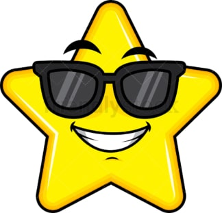 Cool star wearing sunglasses emoticon. PNG - JPG and vector EPS file formats (infinitely scalable). Image isolated on transparent background.