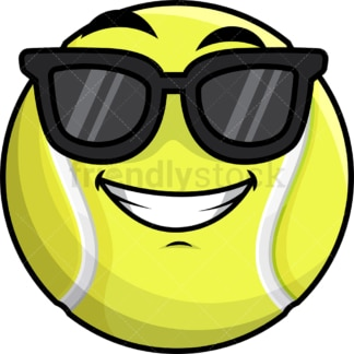 Cool tennis ball wearing sunglasses emoticon. PNG - JPG and vector EPS file formats (infinitely scalable). Image isolated on transparent background.