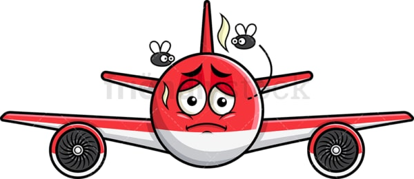 Stinky airplane going bad emoticon. PNG - JPG and vector EPS file formats (infinitely scalable). Image isolated on transparent background.