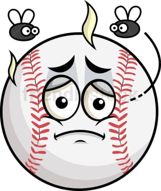 Stinky baseball going bad emoticon. PNG - JPG and vector EPS file formats (infinitely scalable). Image isolated on transparent background.