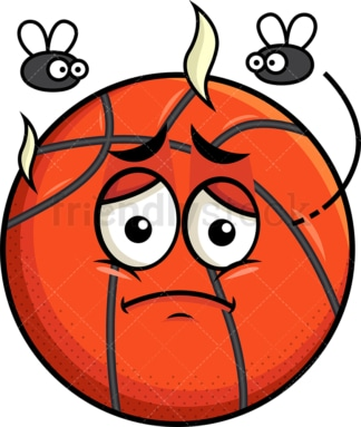 Stinky basketball going bad emoticon. PNG - JPG and vector EPS file formats (infinitely scalable). Image isolated on transparent background.