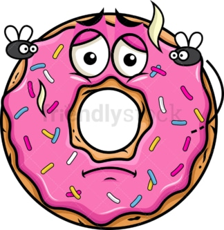Stinky donut going bad emoticon. PNG - JPG and vector EPS file formats (infinitely scalable). Image isolated on transparent background.