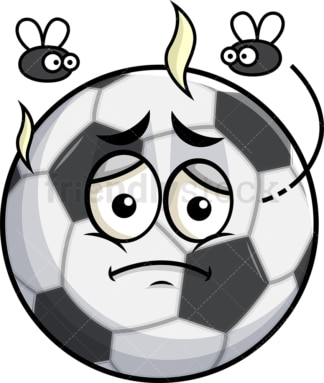 Stinky soccer ball going bad emoticon. PNG - JPG and vector EPS file formats (infinitely scalable). Image isolated on transparent background.