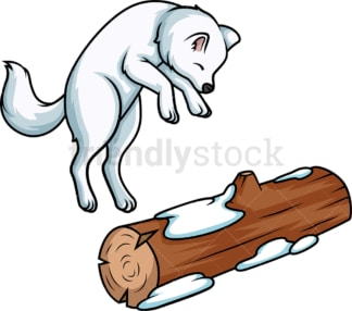 Arctic fox jumping. PNG - JPG and vector EPS (infinitely scalable).