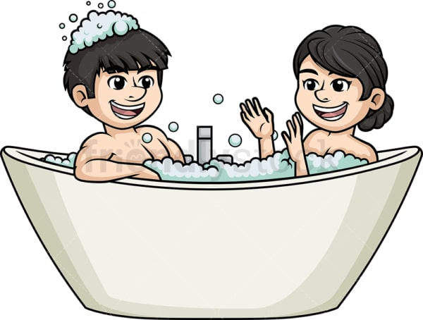Asian couple in bathtub. PNG - JPG and vector EPS (infinitely scalable).