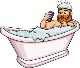 Bearded man having a bath. PNG - JPG and vector EPS (infinitely scalable).