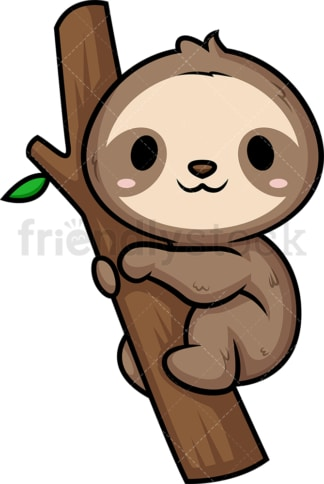 Chibi kawaii sloth. PNG - JPG and vector EPS (infinitely scalable).