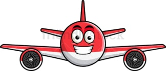 Grinning airplane emoticon. PNG - JPG and vector EPS file formats (infinitely scalable). Image isolated on transparent background.