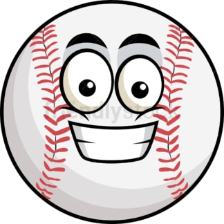 Grinning baseball emoticon. PNG - JPG and vector EPS file formats (infinitely scalable). Image isolated on transparent background.
