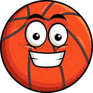 Grinning basketball emoticon. PNG - JPG and vector EPS file formats (infinitely scalable). Image isolated on transparent background.