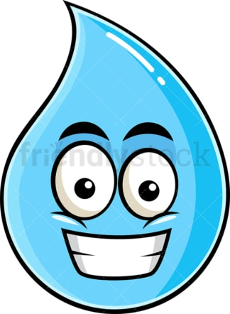 Grinning raindrop emoticon. PNG - JPG and vector EPS file formats (infinitely scalable). Image isolated on transparent background.