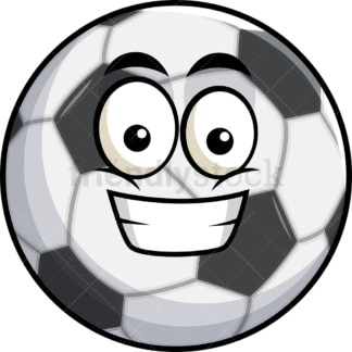 Grinning soccer ball emoticon. PNG - JPG and vector EPS file formats (infinitely scalable). Image isolated on transparent background.