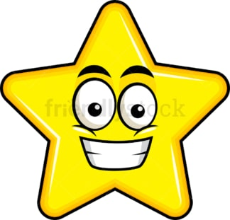 Grinning star emoticon. PNG - JPG and vector EPS file formats (infinitely scalable). Image isolated on transparent background.