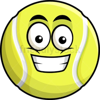 Grinning tennis ball emoticon. PNG - JPG and vector EPS file formats (infinitely scalable). Image isolated on transparent background.