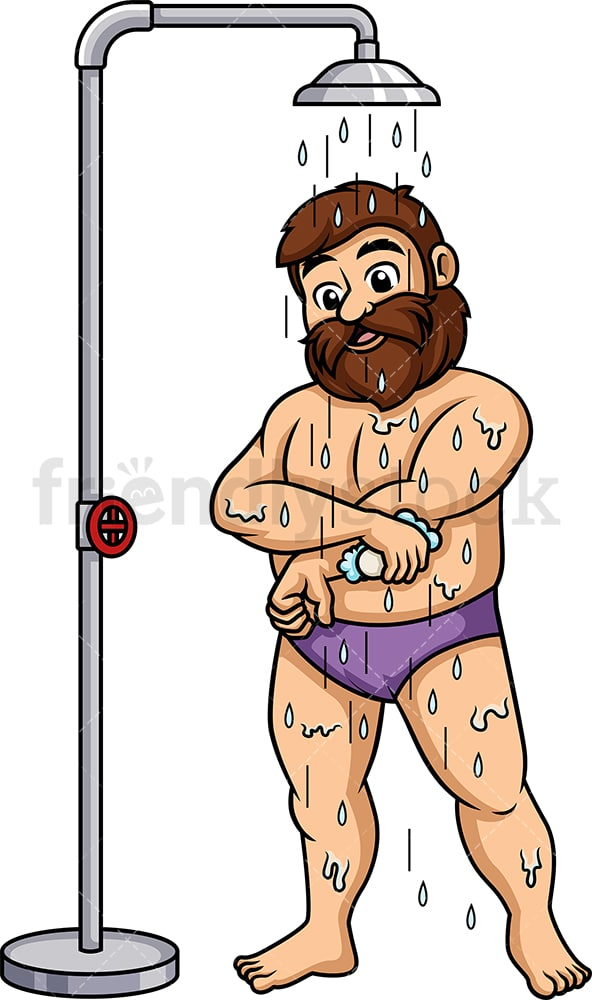 Overweight man taking a shower. PNG - JPG and vector EPS (infinitely scalable).