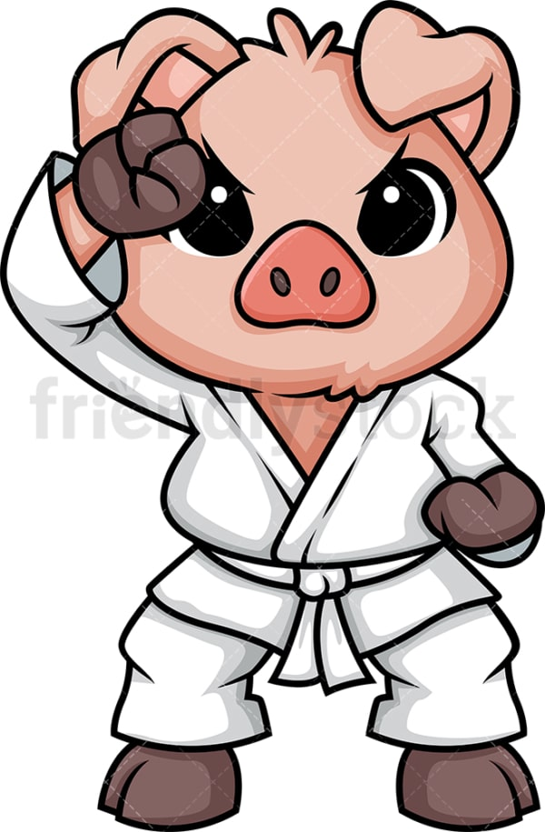 Pig doing karate. PNG - JPG and vector EPS (infinitely scalable).