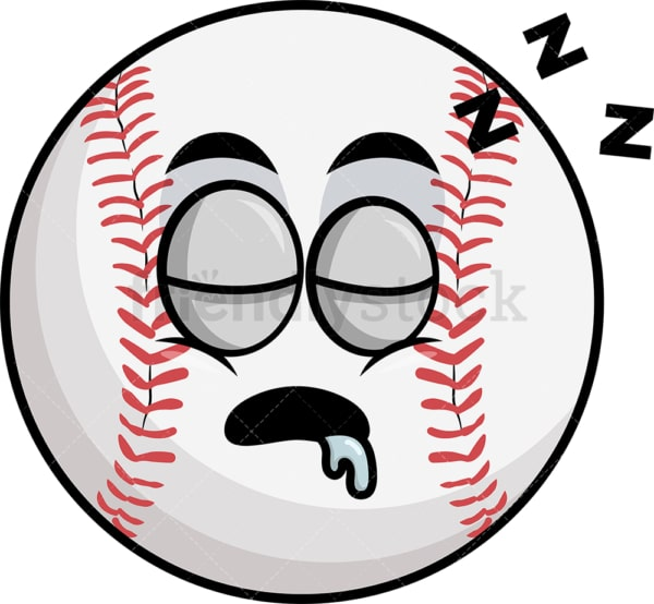 Sleeping baseball emoticon. PNG - JPG and vector EPS file formats (infinitely scalable). Image isolated on transparent background.