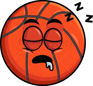 Sleeping basketball emoticon. PNG - JPG and vector EPS file formats (infinitely scalable). Image isolated on transparent background.