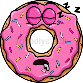 Sleeping donut emoticon. PNG - JPG and vector EPS file formats (infinitely scalable). Image isolated on transparent background.