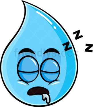 Sleeping raindrop emoticon. PNG - JPG and vector EPS file formats (infinitely scalable). Image isolated on transparent background.