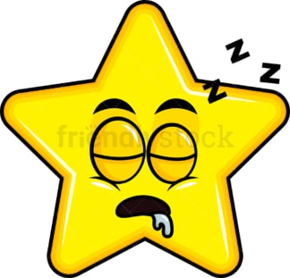 Sleeping star emoticon. PNG - JPG and vector EPS file formats (infinitely scalable). Image isolated on transparent background.