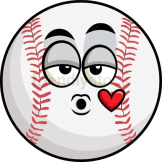 Baseball blowing a kiss emoticon. PNG - JPG and vector EPS file formats (infinitely scalable). Image isolated on transparent background.