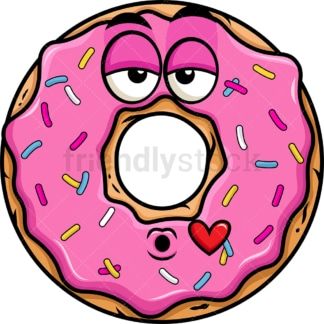 Donut blowing a kiss emoticon. PNG - JPG and vector EPS file formats (infinitely scalable). Image isolated on transparent background.