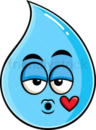 Raindrop blowing a kiss emoticon. PNG - JPG and vector EPS file formats (infinitely scalable). Image isolated on transparent background.