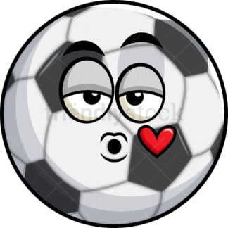 Soccer ball blowing a kiss emoticon. PNG - JPG and vector EPS file formats (infinitely scalable). Image isolated on transparent background.