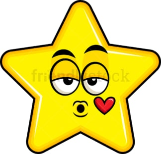 Star blowing a kiss emoticon. PNG - JPG and vector EPS file formats (infinitely scalable). Image isolated on transparent background.