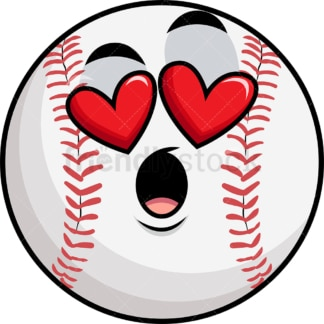 In love baseball emoticon. PNG - JPG and vector EPS file formats (infinitely scalable). Image isolated on transparent background.