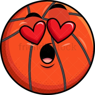 In love basketball emoticon. PNG - JPG and vector EPS file formats (infinitely scalable). Image isolated on transparent background.