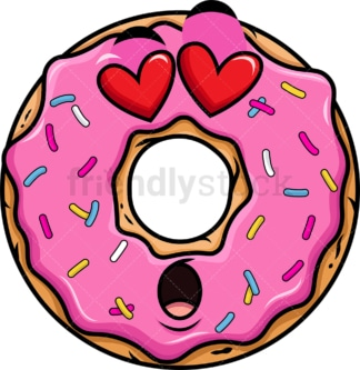 In love donut emoticon. PNG - JPG and vector EPS file formats (infinitely scalable). Image isolated on transparent background.